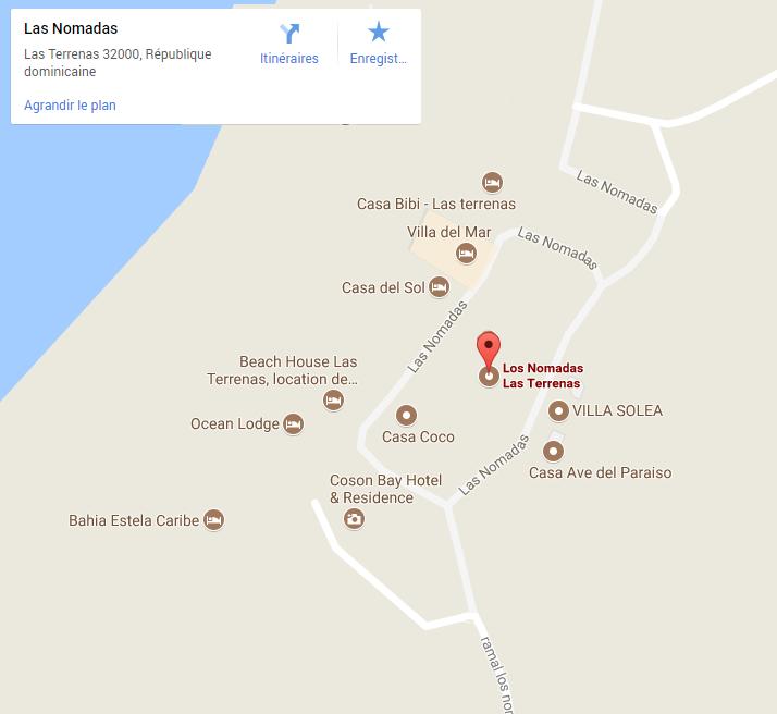 Carte de Las Terrenas - Los Nomadas location de villa et maison